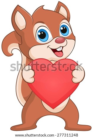 Squirrel holding a heart - stock vector