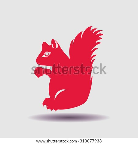 squirrel with a nut icon, vector illustration. Flat design style. - stock vector