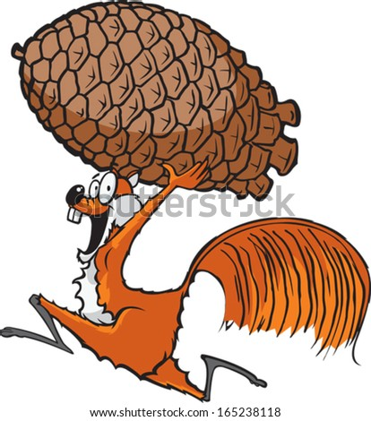 Squirrel with Pinecone A cartoon squirrel running with a pinecone. Layered vector file. - stock vector