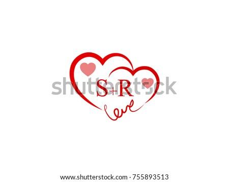 SR Initial Wedding Invitation Love Logo Stock Vector 755893513