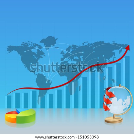 Srategic map, with the diagram and globe. Template, business reports, infographics - stock vector