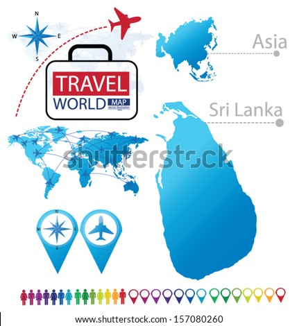 Sri Lanka. Asia. World Map. Travel vector Illustration. - stock vector