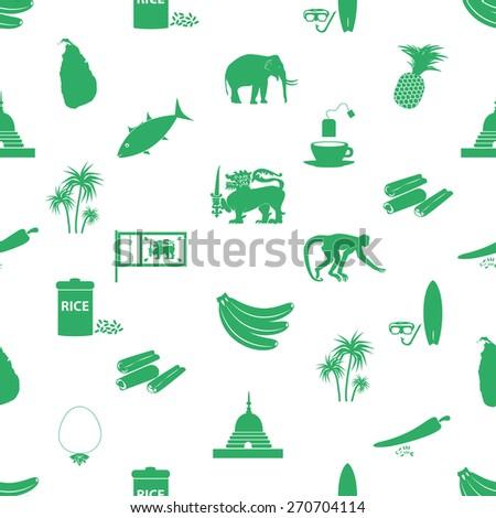 Sri-lanka country symbols seamless green pattern eps10 - stock vector