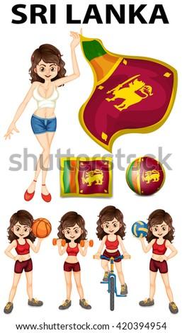 Sri Lanka flag and woman athlete illustration - stock vector