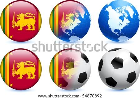 Sri Lanka Flag Button with Global Soccer Event Original Illustration - stock vector