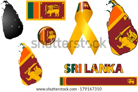 Sri Lanka Icons. Set of vector graphic images and symbols representing Sri Lanka. - stock vector