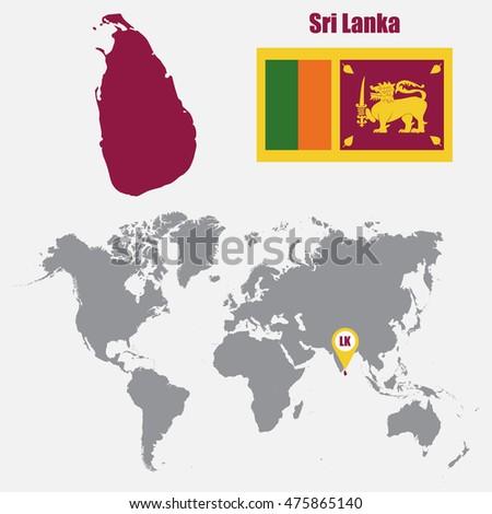 Sri Lanka Map On World Map Stock Vector 475865140 - Shutterstock