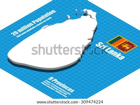 Sri Lanka map vector three dimensional - stock vector