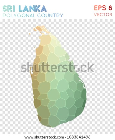 Sri Lanka Polygonal, Mosaic Style Country Map. Powerful Low Poly Style,  Modern Design