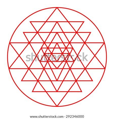 Sri Yantra detail, sacred geometry, triangles design vector,  - stock vector