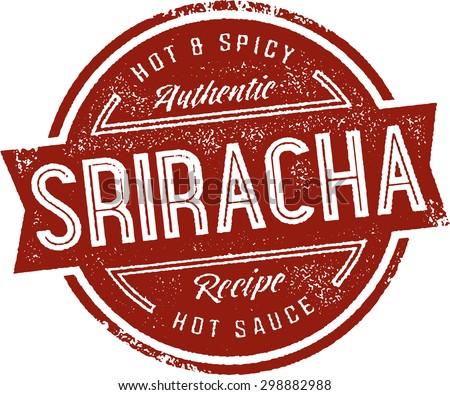 Sriracha Hot Sauce Label Stamp - stock vector