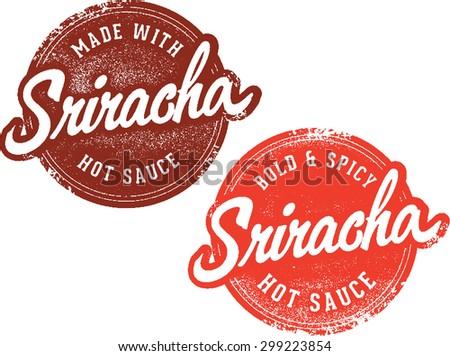 Sriracha Hot Sauce Stamps - stock vector