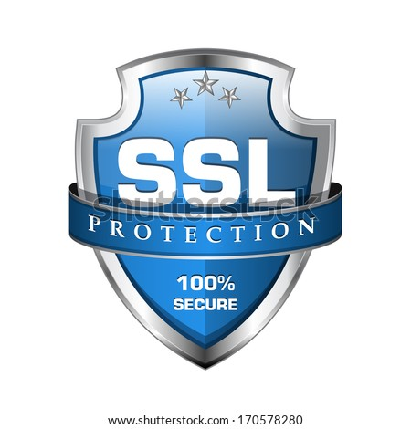 SSL Protection Secure Blue Shield Vector Icon - stock vector