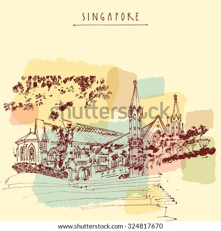 St Andrew's Cathedral, Singapore, Asia. Artistic hand-drawn travel sketch on paper. Architectural drawing. British colonial architecture. Travel handdrawn postcard or poster. Vector book illustration - stock vector