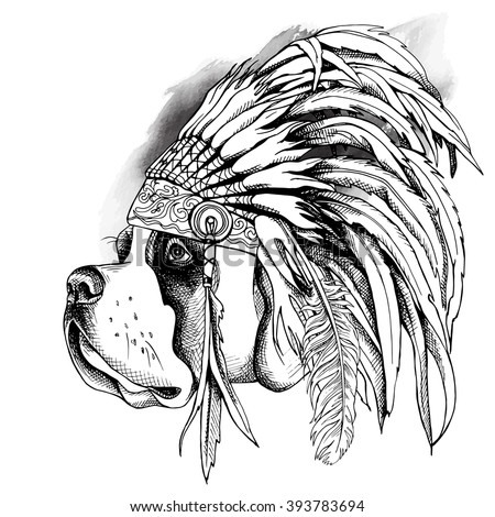 St. Bernard portrait in profile with a Indian Feather Headdress. Vector illustration.