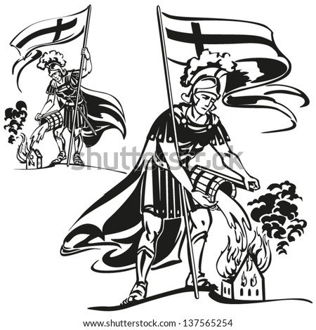 St Florian themes: Brush drawing-based vector illustrations showing St. Florian, the patron saint of firefighters.