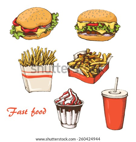st food with cola, hamburger,  fries and ice cream
