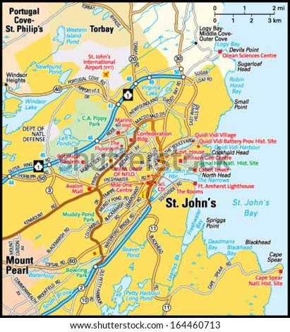 St Johns Newfoundland Labrador Area Map Stock Vector - Portugal cove nl map
