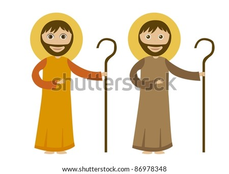 st. joseph cartoon isolated, white background. vector - stock vector