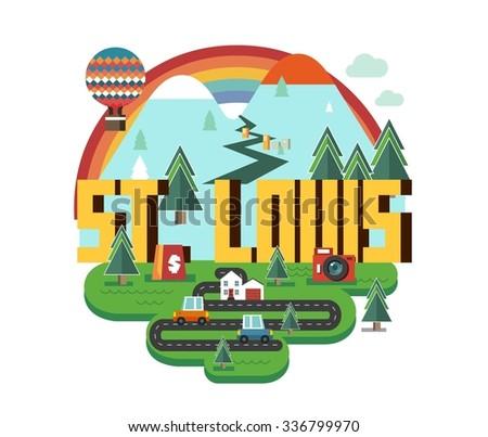 St. Louis city travel destination in USA. vector cartoon, - stock vector