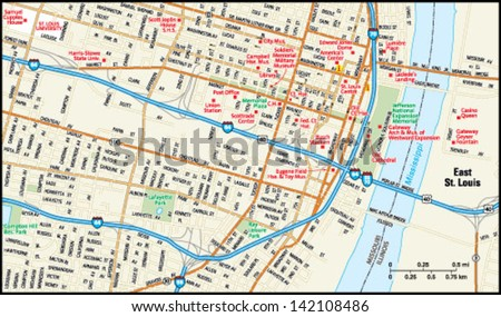 St Louis Missouri Downtown Map Stock Vector 142108486 Shutterstock