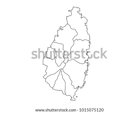 st Lucia outline map. detailed isolated vector country border contour map on white background.