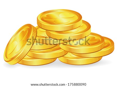 St Patrick Day Concept With Gold Coins Vector Isolated On White Background