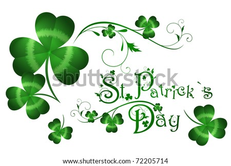 St.Patrick day greeting with shamrocks - stock vector