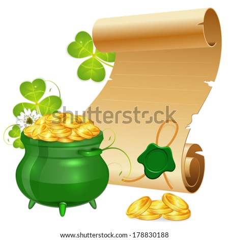 St. Patrick Day Poster with Manuscript, Pot, Gold Coins and Sealing Wax, vector isolated on white background - stock vector