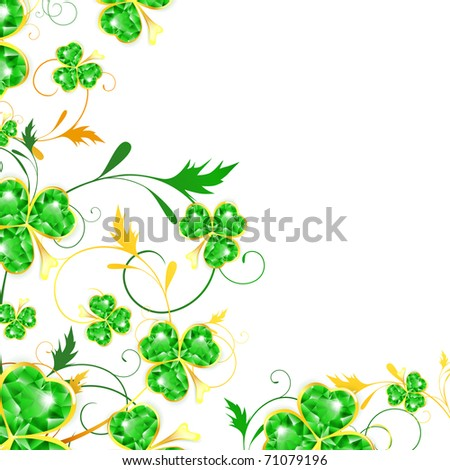 St.Patrick floral frame with jewelry shamrocks, copyspace - stock vector