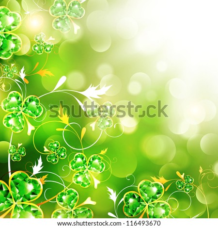 St.Patrick Floral With Jewelry Shamrocks Over Bright Background - stock vector
