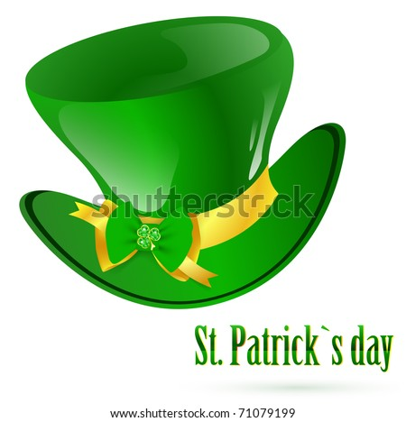 St.Patrick green hat with decorative bow and emerald shamrock - stock vector