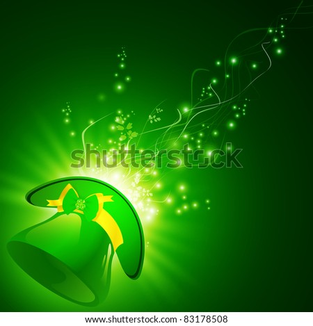 St.Patrick green hat with emerald shamrock over magic background - stock vector