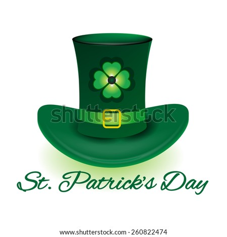 St. Patrick hat with four leaf clover icon background template - stock vector