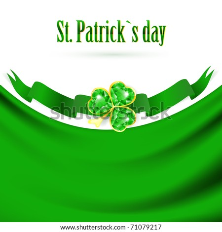 St.Patrick holiday drapery frame with jewelry shamrock at green banner, copyspace - stock vector