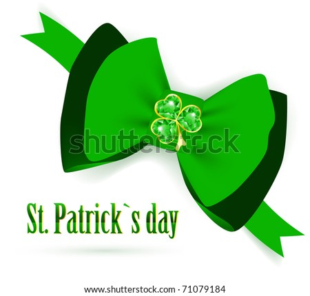 St.Patrick holiday green bow with emerald shamrock over white background - stock vector
