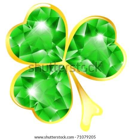 St.Patrick holiday jewelry shamrock over white - stock vector