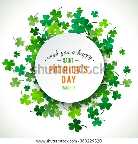 St Patrick's Day background. Vector illustration for lucky spring design with shamrock. Green clover border and round frame isolated on white background. Ireland symbol pattern. Irish header for web. - stock vector