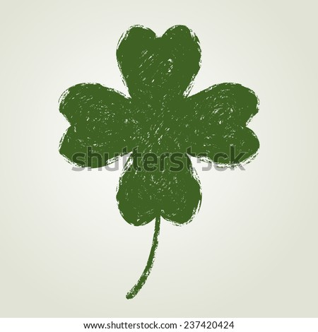 St. Patrick's day background with four leaf clover. Saint Patrick symbol. Grunge style. - stock vector