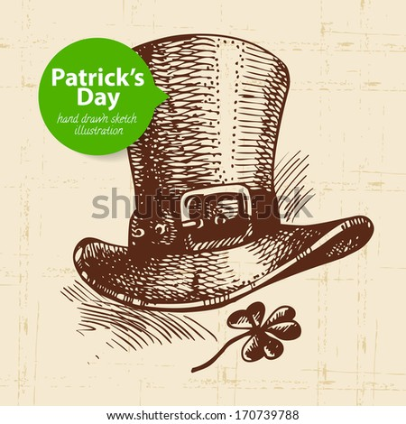 St. Patrick'??s Day background with hand drawn sketch illustration and bubble banner