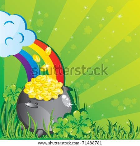 St. Patrick's day background with magic pot full of golden coins - stock vector