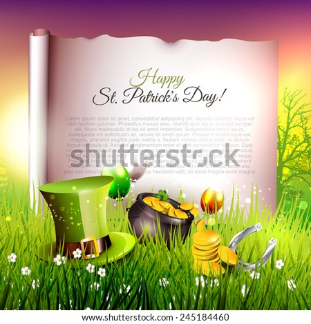 St. Patrick's Day background with place for your text  - stock vector