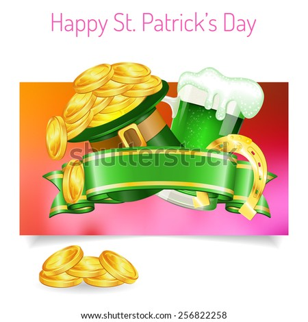 St. Patrick's Day Banners with Ribbon, Hat, Gold Coins, Horseshoe and Glass of Beer in 3D Realistic Style. Can be used for web banners, flyer, poster and printing advertising. Vector illustration. - stock vector