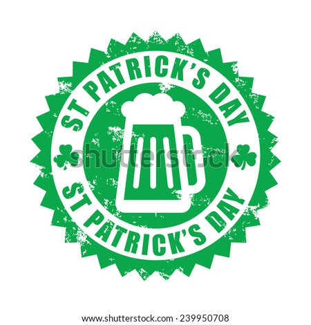 St Patrick's day, beer, grunge rubber stamp, vector illustration - stock vector