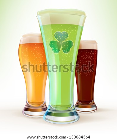 St. Patrick's Day beer set - stock vector