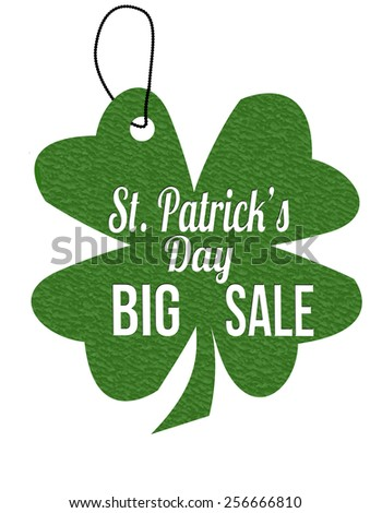 St. Patrick's Day big sale green leather label or price tag on white background, vector illustration - stock vector