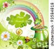 St. Patrick's Day card design with clover and coins - stock photo