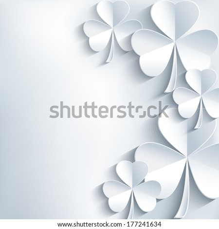 St. Patrick's day card with cut paper 3d leaf clover. Stylish abstract St. Patrick's day background with leaf clover. Modern trendy gray background. Vector illustration  - stock vector