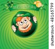 St.Patrick`s day card with fun leprechaun - stock vector