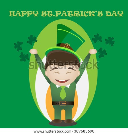 St.Patrick's day card with man in traditional green suit. - stock vector